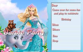 free barbie printable kids birthday party invitations brisbane