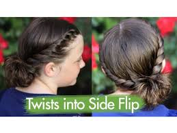 short hair styles with front flips twists into side flip updos cute girls hairstyles youtube