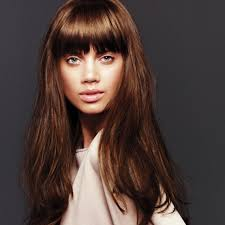 long brunette hairstyle with a fringe hair pinterest long