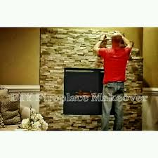 How To Decorate A Brick Fireplace How To Install Stone To Makeover Your Fireplace Ourhouse Diy