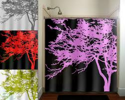 Kids Fabric Shower Curtain - pink tree black shower curtain bathroom decor fabric kids bath