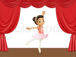 Curtain Dancing Against The Background Of The Stage And Red Curtain Dancing