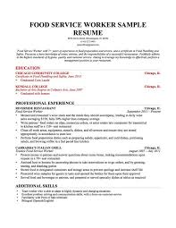Food Service Resume Samples by Professional Resume Recent Education Food Service Worker Sample