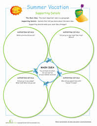 main idea and details summer vacation worksheet education com