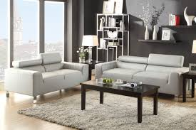Grey Leather Sofa And Loveseat F7265 Sofa Loveseat Set Light Grey Bonded Leather By Poundex