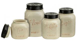 black kitchen canisters jar canister set ivory and black kitchen storage set of 4 ebay