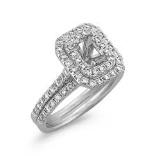 emerald cut wedding set emerald cut halo wedding set with diamond accents