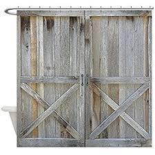Shower Curtain Door Cafepress Rustic Barn Door Decorative Fabric