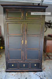 vintage restained distressed black henredon armoire bangin