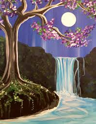 purple pink flowering tree with waterfall and moon set