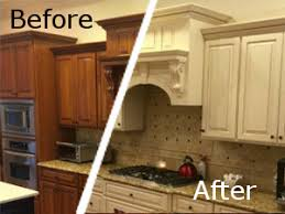 How To Restain Kitchen Cabinets by Resurfacing Kitchen Cabinets Before And After