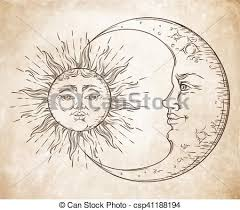 antique style sun and crescent moon boho eps