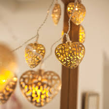 Battery Operated Fairy Lights by 10 Led Gold Filigree Heart Battery Operated Fairy Lights