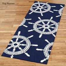 Navy Blue Runner Rug Ship Wheel Nautical Indoor Outdoor Rugs By Liora Manne
