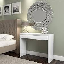 White High Gloss Dressing Table  Drawer Modern Design Amazon - Dressing table modern design