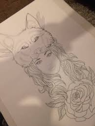 simple and cool pencil work head on wolf face tattoo design