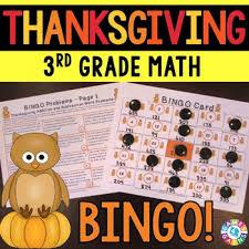 3rd grade thanksgiving activity 3rd grade thanksgiving math bingo