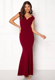 goddiva dresses goddiva bardot pleat maxi dress wine bubbleroom