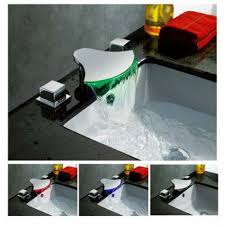 Bathroom Faucets Waterfall And Cold Water Mixer Bathroom Faucet With Led Color Changing Light