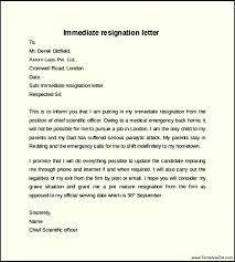 immediate notice resignation letter templatezet