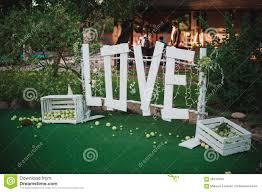big love sign made wedding decor stock photo image