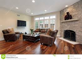 family room with stone fireplace stock image image 13351541