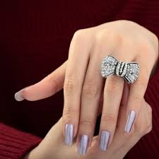 crystal pave rings images Okajewelry bow tie ring vintage pave crystal bow cocktail rings jpg