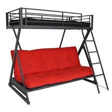 lit mezzanine et canapé lit mezzanine noir en 90x190 avec banquette cli achat vente