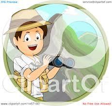 safari binoculars clipart clipart of a brunette white explorer boy holding binoculars in a