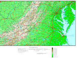 virginia map virginia elevation map