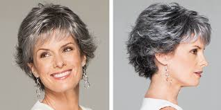 feathered brush back hair the grey hair trend 12 grey wig styles you ll instantly love
