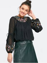 see thru blouse applique see thru floral embroidered blouse black blouses m zaful