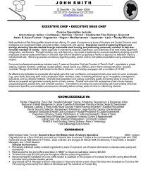 Example Of Chef Resume by Chef Resume Example Haadyaooverbayresort Com