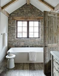 brown painted bathrooms with gorgeous stone wall adwhole