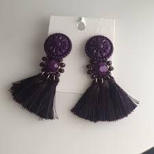 hm earrings h m purple tassels earrings nwt tassel earrings tassels and bald