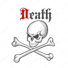 old sketched skull with crossbones symbol u2014 stock vector