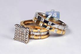 his and hers engagement rings sets his hers 1 65 ct wedding rings set 10k two tone gold