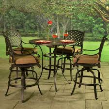 Cast Aluminum Patio Chairs Stonegate Cast Aluminum Cushioned Bar Height Patio Set Patio