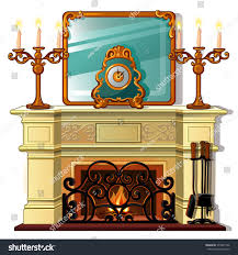 fireplace candlesticks isolated on white background stock vector