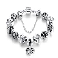 bracelet silver chain images Fashion bracelet silver plated heart pendants safety chain black jpg