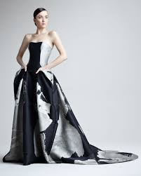 neiman wedding gowns s black abstractprint jacquard gown carolina herrera