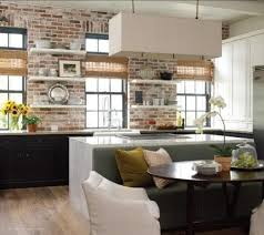 rustic kitchen backsplash with exposed brick accent also open