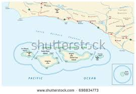 california map national parks map channel islands national park california stock vector