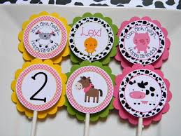 farm birthday party personalized cupcake toppers farm