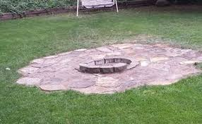 Backyard Landscaping With Fire Pit - natural flagstone patio u0026 fire pit hometalk