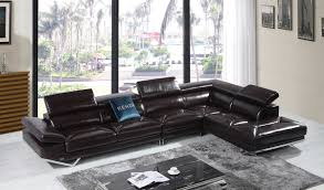 Modern Leather Sectional Sofa Casa Quebec Modern Brown Italian Leather Sectional Sofa