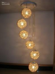 6 light natural rattan woven ball stair pendant light living room