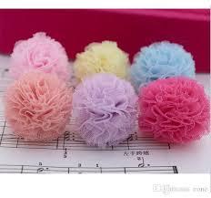 tulle pom poms 4 3cm satin tulle pom poms flower for clip headband hair