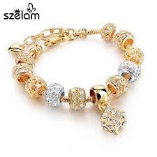 woman charm bracelet images Luxury crystal heart charm bracelets bangles gold bracelets for jpeg