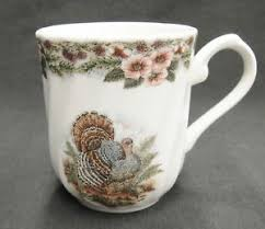 churchill thanksgiving mug multi color turkey flower border